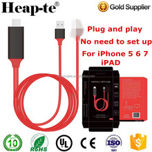 8pin To HDMI cable 2M AV TV HDTV Adapter Cable For iPad/iPhone 5S 6 6P 6S With USB Charger Cable