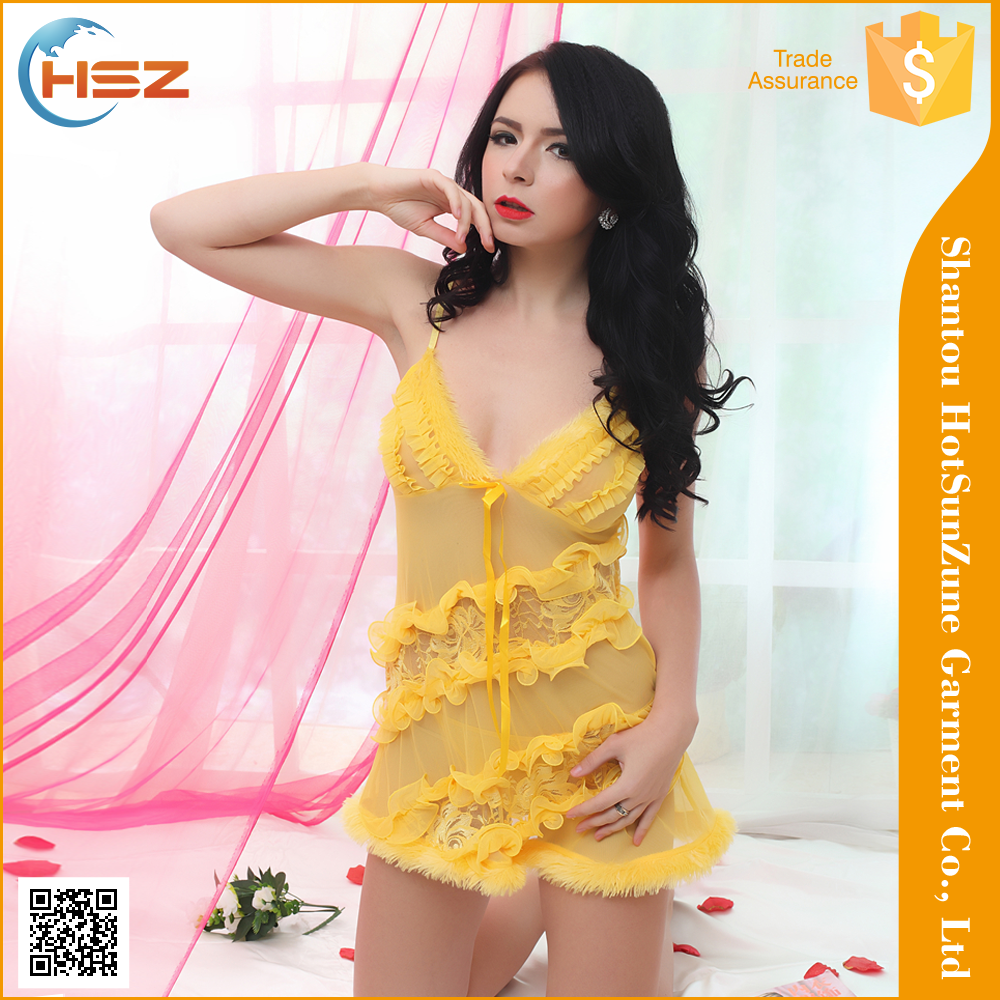 HSZ-6012# sexy hot baby doll night lingerie elegant sexy teen girls lingerie yellow sexy boy lingerie