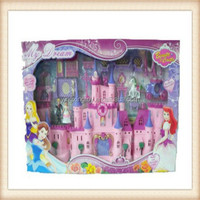 plastic christmas gift beautiful pink color castle toy with light,music