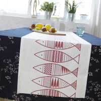 2016 Promotion Europe red fish 100% cotton fashion multi size wedding table runners, home party decoration table cover runner