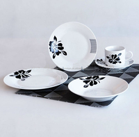 Round Dinner Sets Black Flower Ceramic Porcelain Plate Sets indian dinnerware