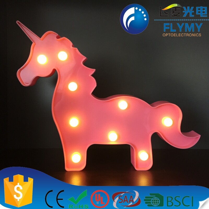 2017 best selling Creative Led Marquee Sign unicorn light with CE&RoHS Decorative Home kids gift