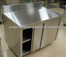 Commercial Double Door Stainless Cabinet With Sliding Doors & Splashback