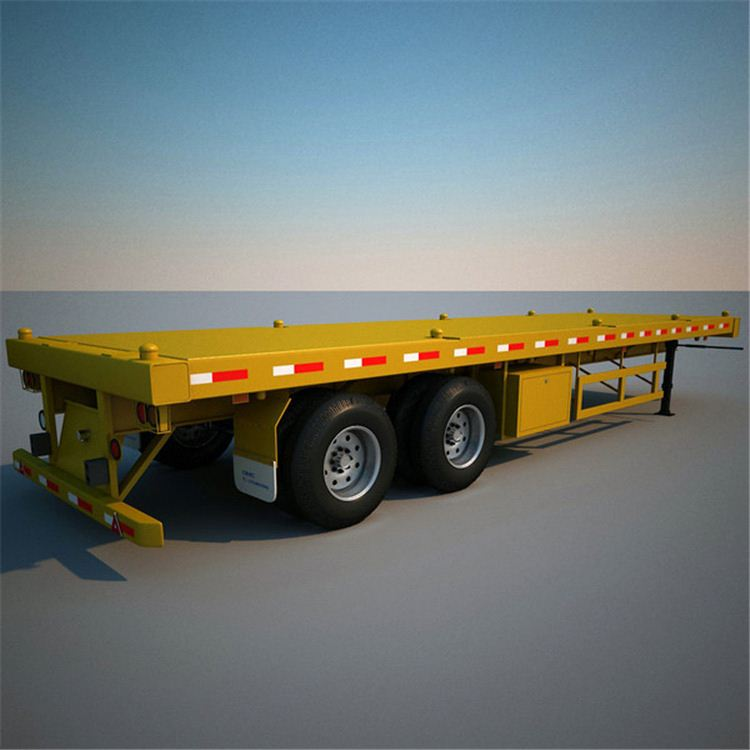 China 3 axles 40feet high flat bed container delivery trailer for sale