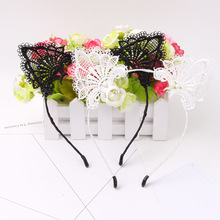 Black Lace Cat Ears <strong>Headband</strong> For Women Girls Hairband Dance Party Sexy Boutique Hair Hoop Hair Accessories