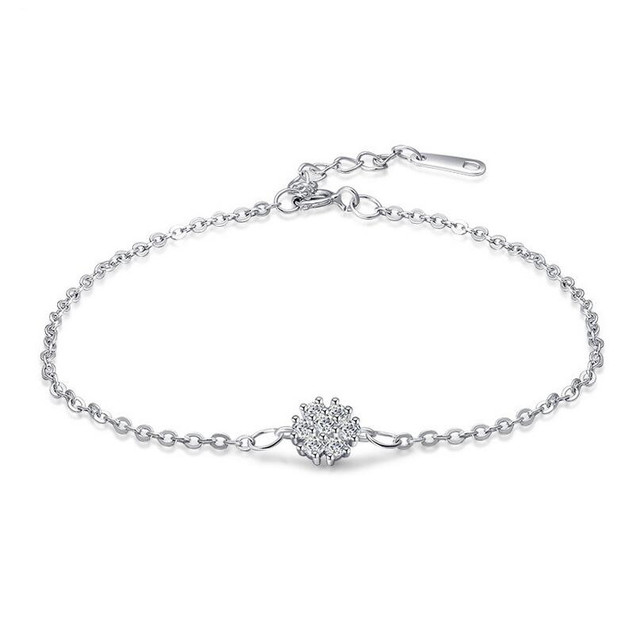 Fine jewelry 100% 925 Sterling Silver Set crystal rose gold bracelet Free shipping