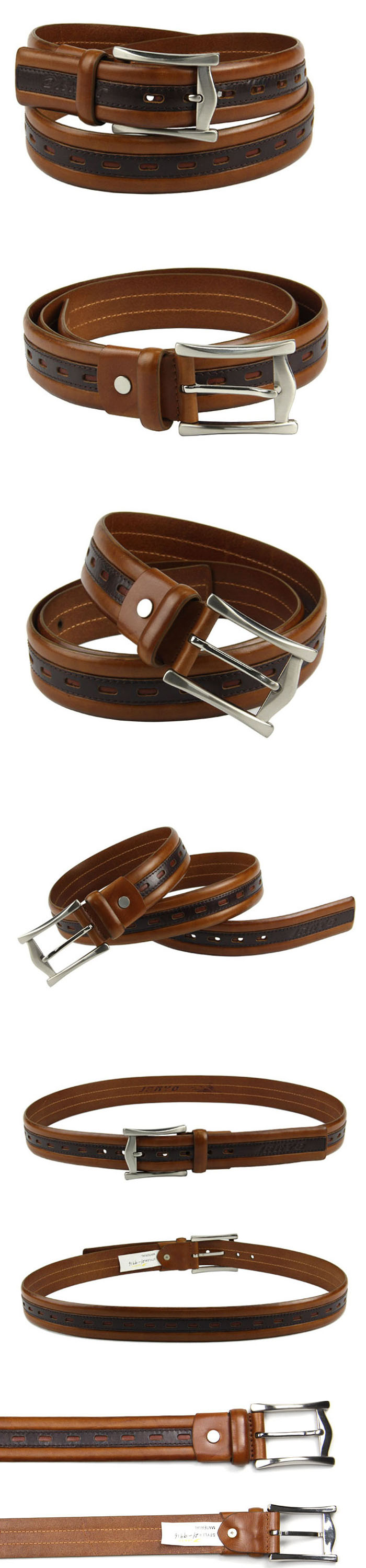 Customized fashion brown leather belt bulk