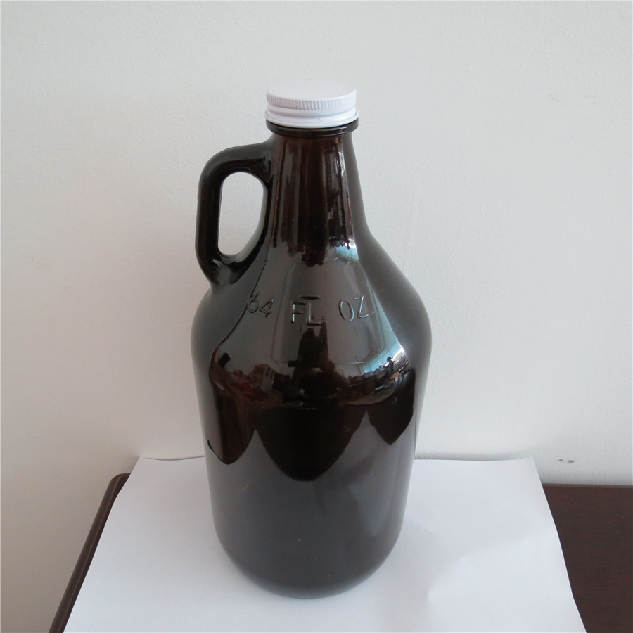 2L brown glass bottle with handle one ear glass jar