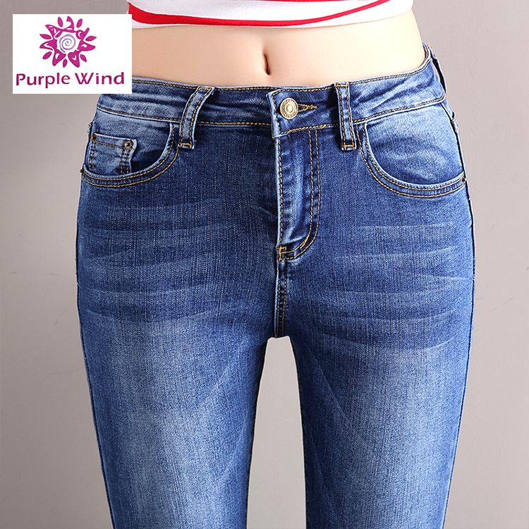 2017 new style fashion mid waist sex girls wear embroidery denim flare leg jeans with raw edges