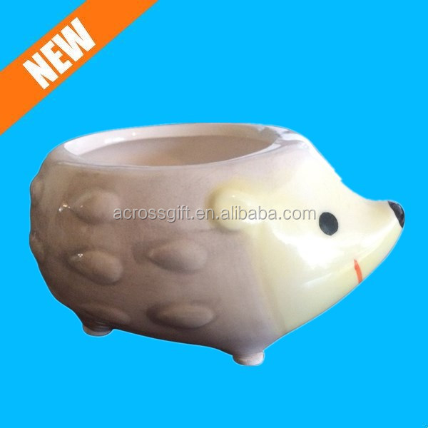 Cute Hedgehog Flower Pot -- Mini Ceramic Planter -- Yellow/Green