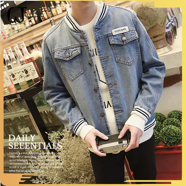 L004 Wholesale Heavy Wash Men Denim Jacket Fall And Winter Slim Elastic Wrist Long Sleeve Jeans Coats Fashion clothing 2017