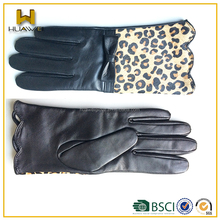 Hot selling lady leather ruffles cuff gloves with back of leopard printing