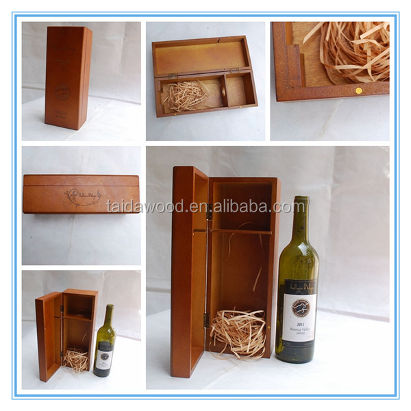 Pine Wood Double Bottle Wine/Gift Packing Box with Metal Lock