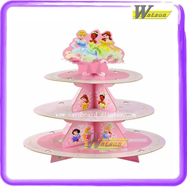 Factory Price Teacup Paper Cardboard 3 Tier Cupcake Holder with Princess