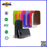 New Arrival Perfect Fit Pull Tab Leather Pouch Case for Sony Xperia Z1 Compact Laudtec