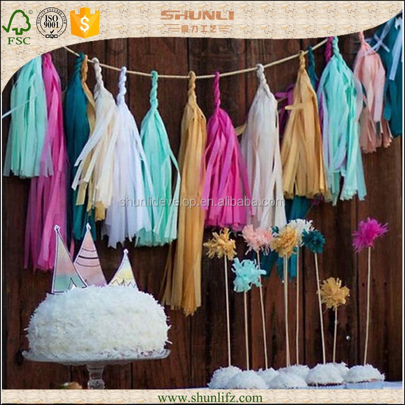 wedding ceremony metallic gold Tassel Garland Tissue Paper