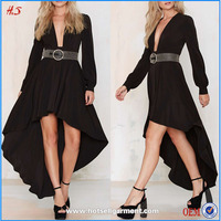 Long sleeve v-neck black short front long back without dress short pictures of ladies frocks open front dresses