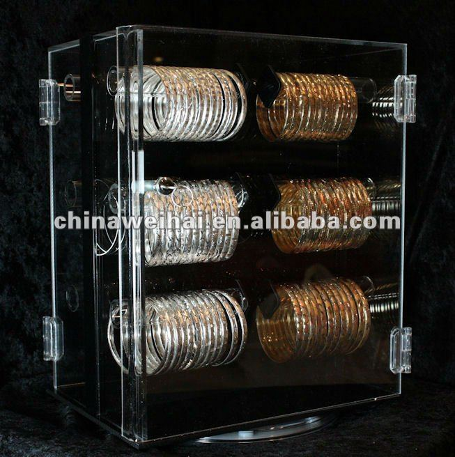 acrylic jewelry display case/rotating acrylic jewelry display stand