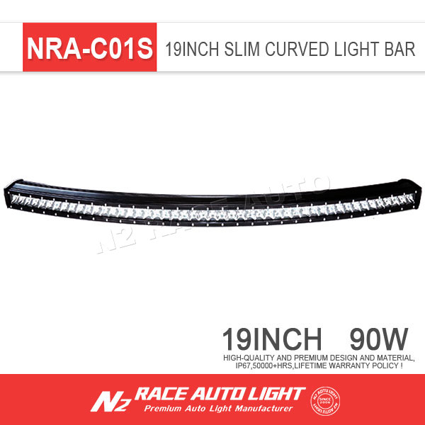 "5w Slim led bar lighting single Row Off road Curved 19""inch 90W led off road light bar"