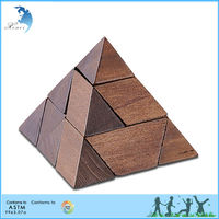 High Quality Wooden Pyramid Shape Two Colors IQ Puzzle