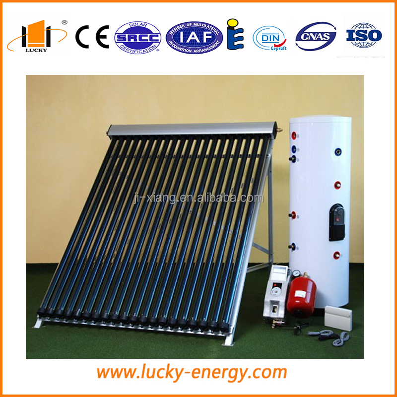 heat pipe pressurized solar water heater with water tank for room heating