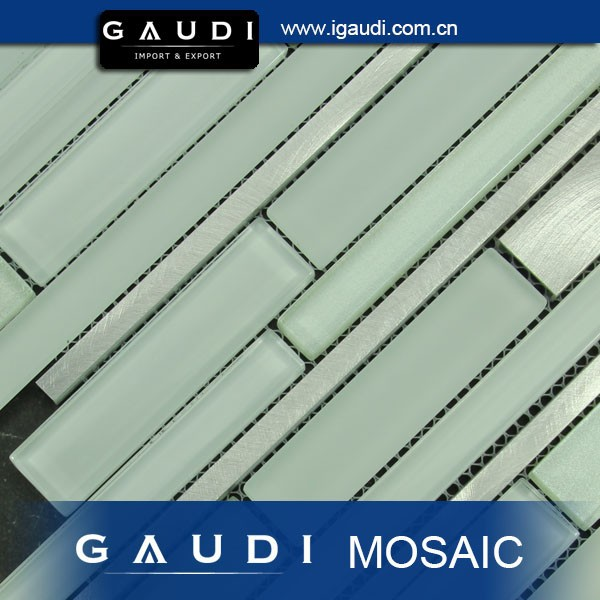 Mixed Color Family and Strip Shape New Design glass mix aluminium mosaic tile for backsplash