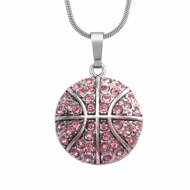A1060 Yiwu Huilin Jewelry Wholesale Custom Team Logo crystal Basketball Sport Jewelry Necklaces for School team