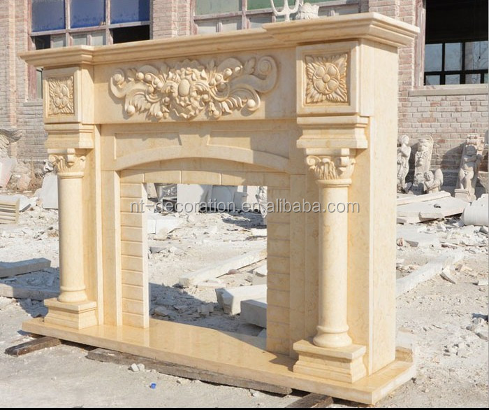 high quality indoor beige marble luxury fireplace mantel NTMF-F851S