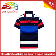 Wholesale color yarn dyed rib collar design polo shirts for men