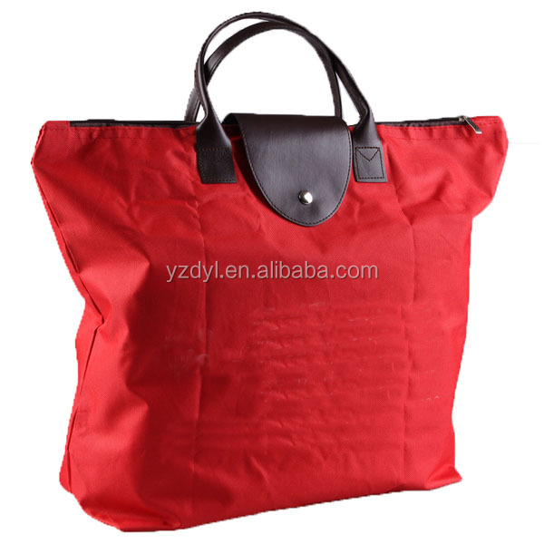 600D leather handles shopping foldable tote bag with snap closure