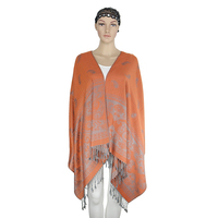 Support customized available stock knitted long cappa fringed scarf cashmere shawl