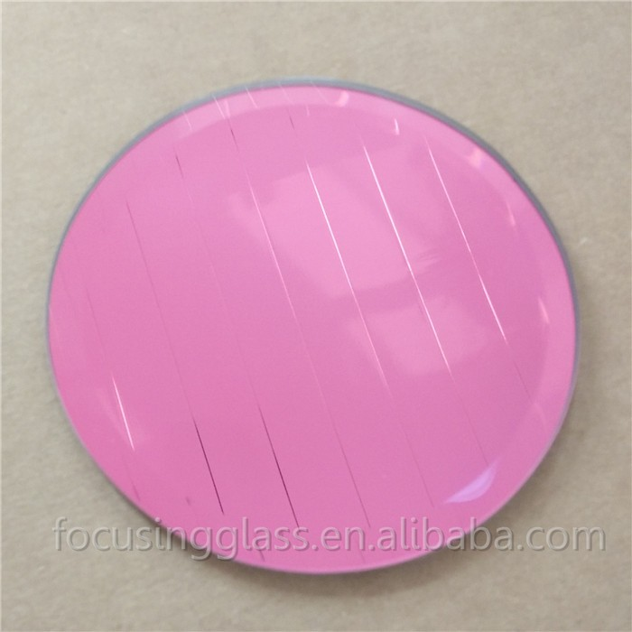 Round color glass mirror coaster set with cork bottom