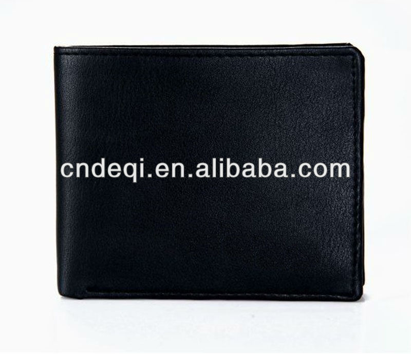 wholesale promotional fashionable classical costom logo black leather mens wallets