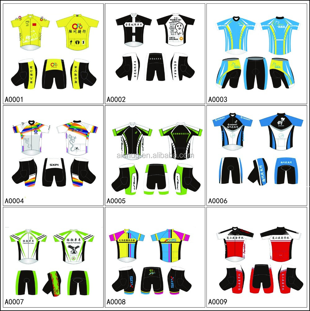 design printing custom unique sportswear funny cycling shirt and bibs