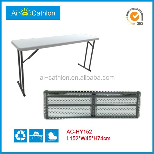 Space Saving Foldable Conference Table, Long Narrow Plastic Folding Confrence Table