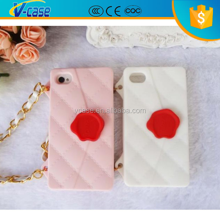8 color soft silicone decorate cell phone case with chain hot sale cover case for iPhone 4
