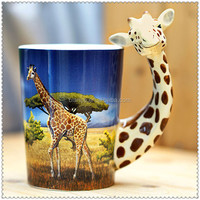 personalized ceramic giraffe mug with giraffe handle design
