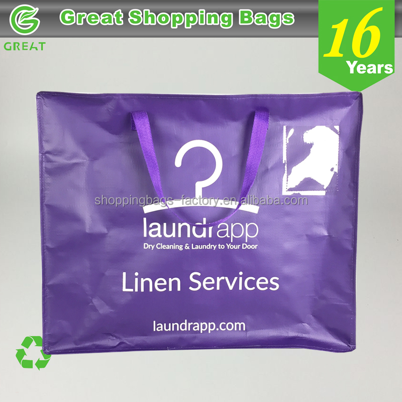 Heavy Duty Dirty Cloth Dry Cleaning Storage Large Square Polypropylene Laundry Tote Bag With Zipper