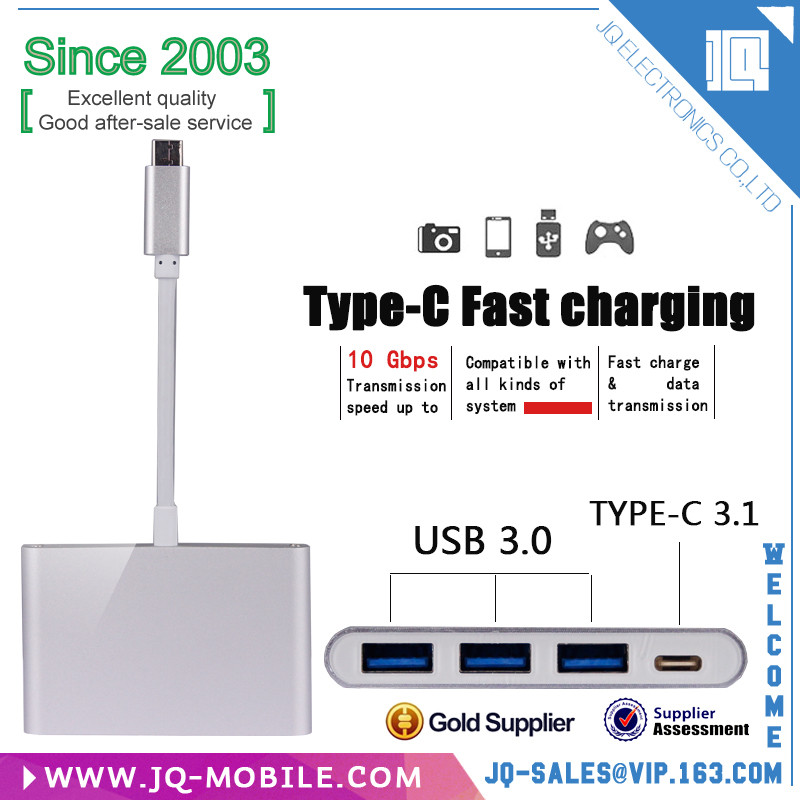 With type c hub charher port popular best quality usb hub 3.1 type c usb cable