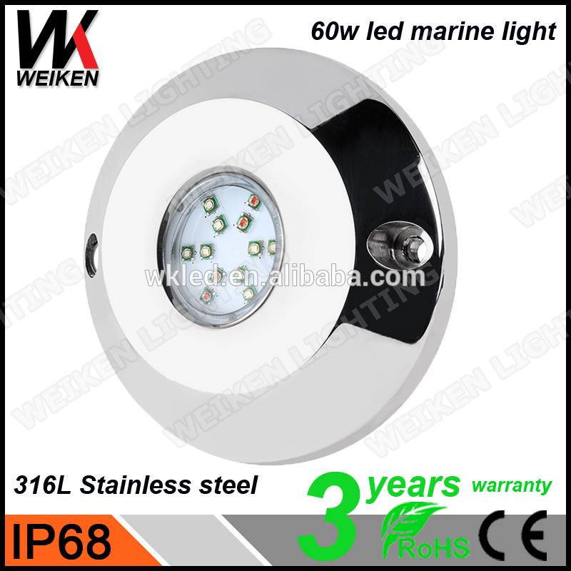 WEIKEN 60w RGB LED Underwater Light Waterproof IP68 boat yacht Fountain Swimming Pool Lamp