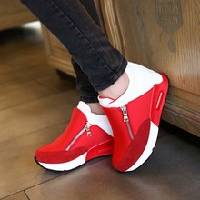 SAA1162 Korean women sports shoes fashion side zipper fancy high platform ladies shoes wholesale