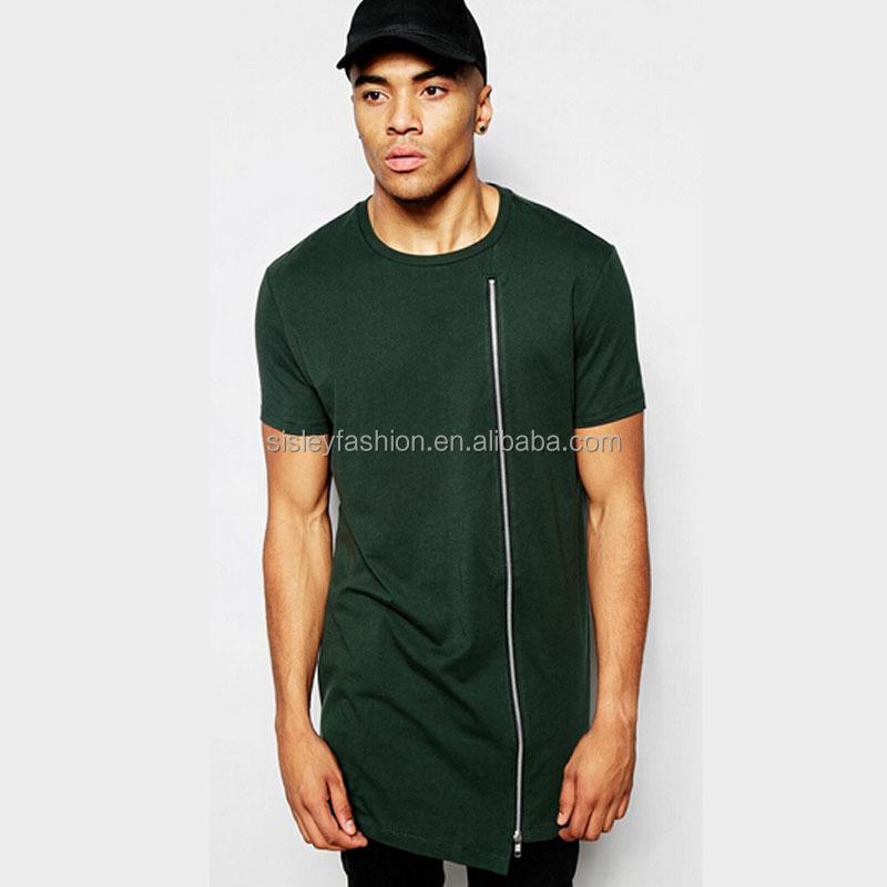 Fashion design long line men t shirt with zipper short for Long line short sleeve t shirt
