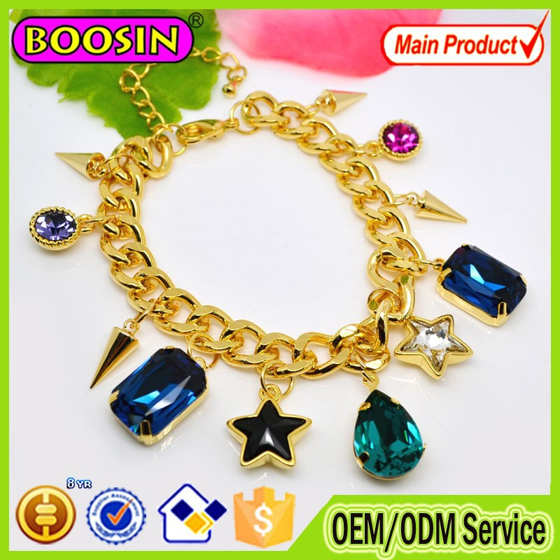 Asian Clear Blue Cabochon gold chain multi-chain quality fashion bracelet 2015 wholesale jewelry #31484