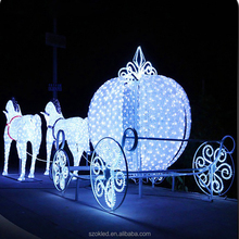 outdoor christmas decoration horse carriage 3d LED lighted mofit horse and carriage for street decoration
