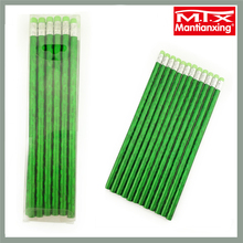 "MTX ra shoot green 7 "" long no toxic plastic tube school color pencil set 12 with eraser"