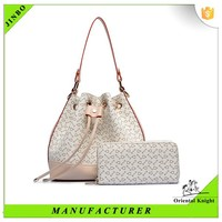 PU leather bucket bag long chain handbag with outside wallet