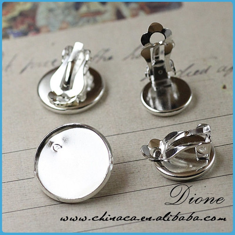 Earring Setting White Gold Cabochon Earring Setting 12mm Pad