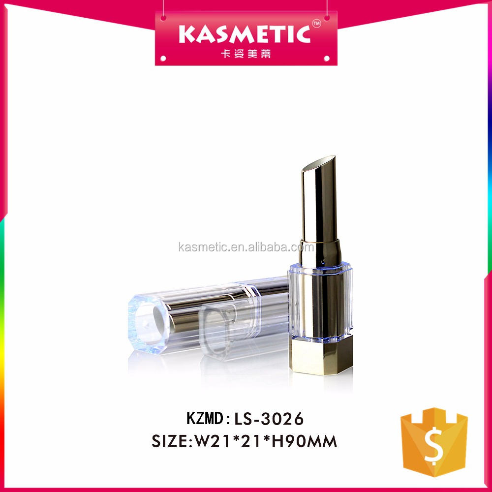 New design hot sale square clear cap empty lipstick tube with LED light