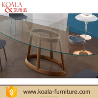 Glass design base solid wood extendable 12 seater dining table chair