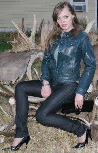 Young Ladies Leather Coat